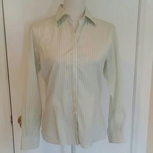 Brooks Brothers Green Stripe Fitted Non Iron